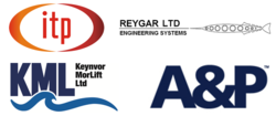 DP Barge Company Logos - IT Power, Keynvor MorLift, Reygar and A&P Falmouth