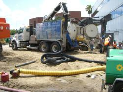 Hydro-excavation using a jetvac truck installing caissons