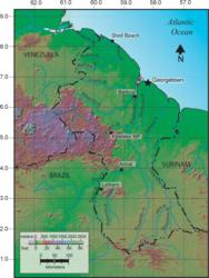 Map of Guyana, color coded to show topography.