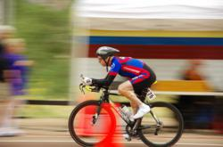 Leo captures the motion and power of cycling at the Huntsman World Senior Games.