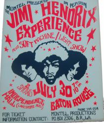 Original Jimi Hendrix 1968 Independence Hall Baton Rouge, Louisiana Concert Poster