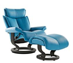 The Magic Leather Recliner and Ottoman by Stressless