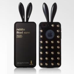 Rabito Bling Bing Stud Series iPhone 5 Bunny Ear Cases Black & Gold