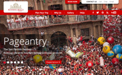 RunningoftheBulls.travel home page image - highlighting the opening ceremonies of the Running of the Bulls