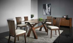 7 piece dining setting consists of brown glass dining table, solid Malaysian Oak footing and a cocoa satin finish. The complementary dining chairs are available in a variety of shades.