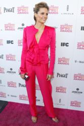 Stana Katic carries Jill Milan 450 Sutter Clutch to 2013 Film Independent Spirit Awards, Santa Monica, Calif., Feb 23 2013. (Photo: Jeff Vespa, WireImage)