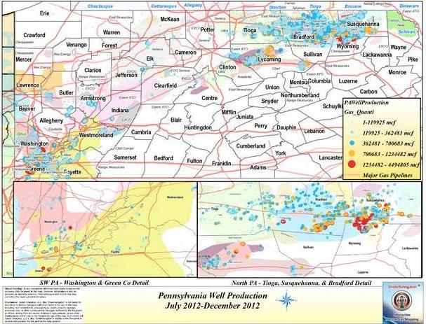 Latest Pennsylvania Marcellus Shale Gas Well Production Data