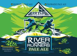 River Runners Pale Ale can design. Rafters with hops leafs.