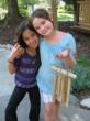 Campers displaying their hand made wind chimes.