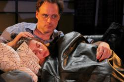 Russ Widdall and Sarah Van Auken in New City Stage Company's production of HURLYBURLY.