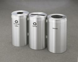 Glaro Inc. RecyclePro Satin Aluminum Modular Recycling Stations