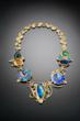 The Galaxies Whirl Necklace, Marianne Hunter, American Enamel, gold, meteorite, gemstone, courtesy of the artist