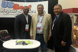 """Mr. Raider"" Tim Brown, US Best Repairs CEO Mark Zaverl, Former 49er Bobby Leopold photo from MBA Conference & Exop"