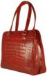 Red crocodile leather handbag