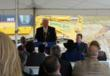 Governor Corbett addressing the crowd at a groundbreaking ceremony at the site in October 2012.