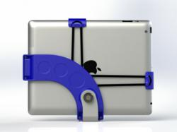 Image of an Archmount attached to the iPad and optional bracket. The mount complements the form of the iPad, and the whole mount can be slipped into your pocket or purse.