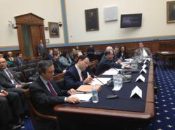 Marlin Steel President Drew Greenblatt (second from left) preparing to testify before House Judiciary subcommittee on regulatory reform