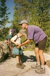 Rock/Creek co-founder Dawson Wheeler with his son Jake in the Wind River Range, circa 1996.