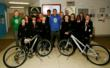 Jermaine Jenas presenting the students with their Land Rover Bikes