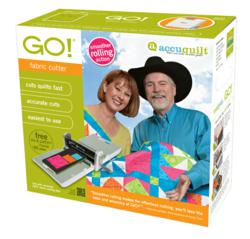 The new smoother rolling GO! Fabric Cutter will sport a new box featuring pro quilters Alex Anderson and Ricky Tims.