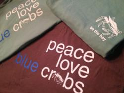 peace love blue crabs t-shirt by Be the Bay