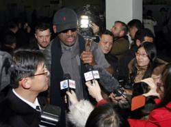 Dennis Rodman speaks to reporters in North Korea