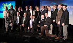 The 25 CP 360 award winners posed for a picture after the Wednesday night event with John Siefert (front row, far right), CEO of VIRGO, the publisher of Channel Partners. The CP 360 Business Value Awards reward partners of all sizes for creating business value for their customers with converged telecom and IT solutions.