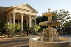 Passages Malibu, front entrance, fountain, treatment facility