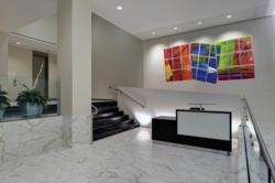 1140 19th Street's Renovated Two-Story Marble Lobby