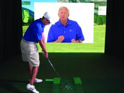 Virtual coaching on golf simulator with Jim McLean