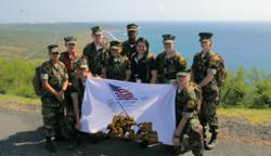 "Youth members of the Young Marines in Iwo Jima during the 2012 annual ""Joint Reunion of Honor"" trip to Guam and Iwo Jima."
