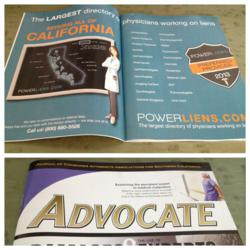CAALA's Advocate magazine featured this two page spread about Power Liens in March