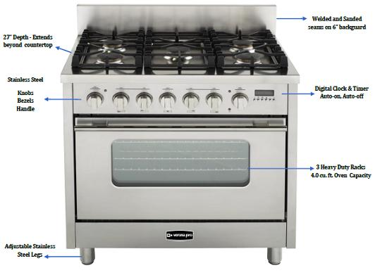 Kitchen Range : Dual Fuel Kitchen Range From Verona Pro By EuroChef