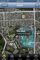 "In this iPhone screenshot, a child (""Janie"") can be seen at the mall, located approximately one hour ago.  By using WhatsUr20, a parent can track the location of their child at all times, and be alerted when the child leaves or arrives at a location."