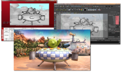 Image showing the storyboard drawing in Redboard, the initial layout in Autodesk's Maya and the final render