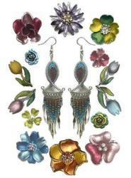 New Flower and Beaded Dangle Earrings