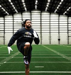 Torrey Smith practices on Shaw Sports Turf