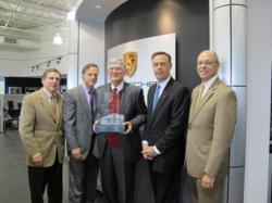 From left, Doug McIntyre, General Manager, Jimmy Ellis, Vice President Jim Ellis Automotive, Jim Ellis, President Jim Ellis Automotive, Dave Kurtz, Porsche Southern Region Area Manager, and Bart Brodzik, Porsche Regional Manager.