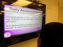 Manzano High School distributes digital signage throughout the school form a Mac digital media player