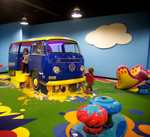 Frolic! features a rock-n-roll-themed playground with soft play elements created by PLAYTIME.