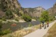 The Glenwood Canyon Recreation Path follows the Colorado River through Glenwood Canyon