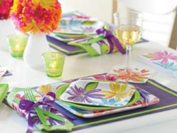 Market Street floral party supplies tablescape for a springtime party