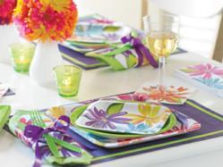 Market Street floral party supplies tablescape for a springtime party