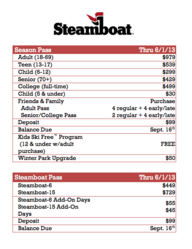 Colorado Ski Pass Pricing Table for Steamboat Springs, CO