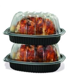 chicken container, rotisserie chicken container, chicken packaging base, Placon