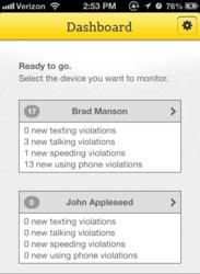 Canary app dashboard screen shot