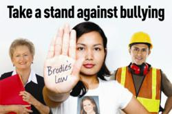 Brodie's Law campaign poster with a construction worker, a young woman and an older lady taking a stand against bullying