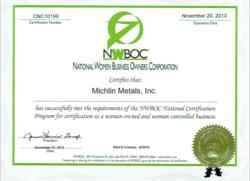 Michlin Metals, Certified Woman Owned Small Business, Aerospace Metal, Specialty Steel Distributor