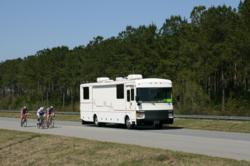 Motorhome and bicyclists on the road
