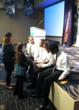 "Carpe Diem-Meridian students make final preparations before  their ""Students in Action"" presentation before the judges."